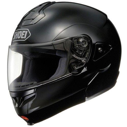 (Shoei Solid Multitec Street Bike Racing Street Helmet - Black / 2X-Small)