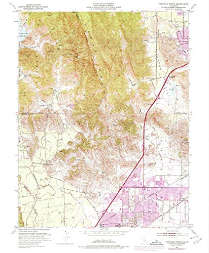 YellowMaps Fairfield North CA topo map, 1:24000 Scale, 7.5 X 7.5 Minute, Historical, 1951, Updated 1973, 26.8 x 22.1 in - Tyvek