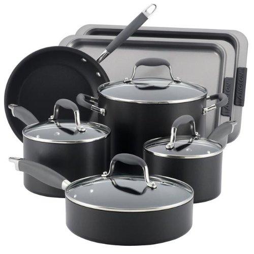 Anolon Advanced Hard Anodized Nonstick 9-Piece Cookware with 2-Piece Bakeware Set (Anolon Sure Grip Bakeware)
