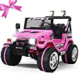 Fitnessclub 12V Ride on Car,, Children's Electric Cars Truck 3 Speed w/Remote Control Motorized Cars for Kids LED Light MP3, AUX, Kids Ride on Toys (Pink)