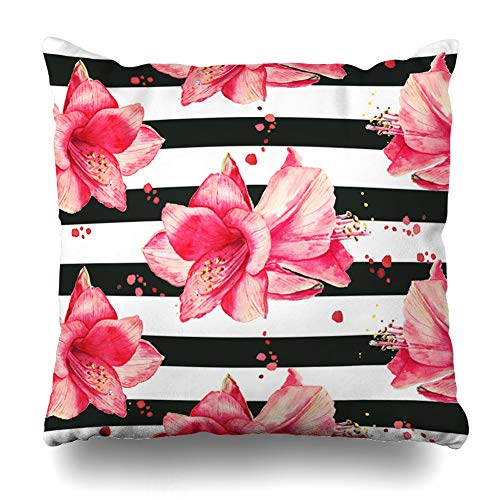 Ahawoso Throw Pillow Cover Fleur Purple Stripe Watercolor Pattern Red Amaryllis Flowers Black Striped Holidays White Christmas Decorative Cushion Case Square 20