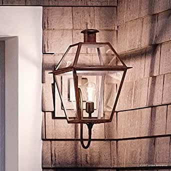 "Luxury Historic Outdoor Wall Light, Large Size: 20.5""H x 9.5""W, with Tudor Style Elements, Antique Gas Lantern Design, Rustic Copper Finish and Clear Glass, UQL1211 by Urban Ambiance"