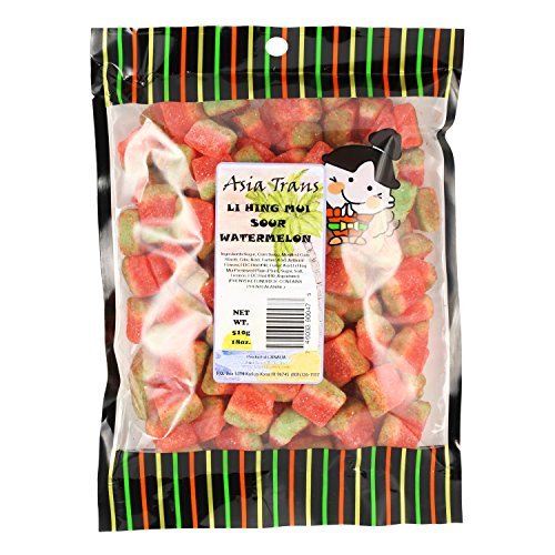 Mui Pack - Li Hing Mui Sour Watermelon 18 Ounce - Packed fresh in Hawaii. Sweet and tart watermelon gummy candy sprinkled with Li Hing Mui Plum powder.