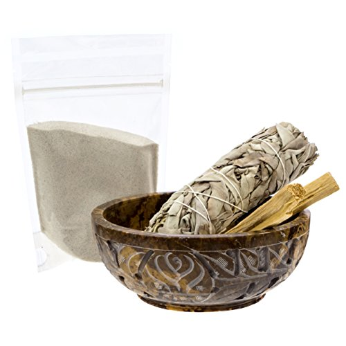 Alternative Imagination Soapstone Smudge Bowl Kit with 1 California White Sage Smudge Stick, 2 Palo Santo Smudge Sticks, and 1/2 lb of White Sand (Deluxe)