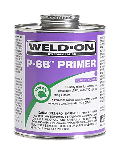- Weldon 10210 Purple P-68 Primer for PVC and CPVC Pipes, Non-Bodied, Fast Acting Primer, Quart Can with Applicator Cap