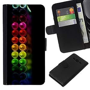Planetar® Modelo colorido cuero carpeta tirón caso cubierta piel Holster Funda protección Para Samsung Galaxy A3 / SM-A300 ( Crayons Colors Pastel Black )
