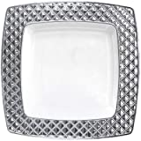 Royalty Settings Diamond Collection Hard Plastic Plates for Weddings for 120 Persons, Includes 120 Dinner Plates, 120 Salad Plates, 240 Forks, 120 Spoons, 120 Knives, White with Silver Rim