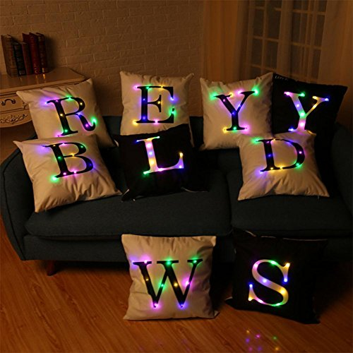 "Keepfit Christmas Pillow Case LED Flashing Novelty Alphabet Lighting Sofa Cushion Cover Home Decor Throw Pillowcase (18"" x 18"", Black D)"