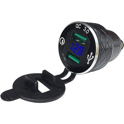 SODIAL Cargador USB de Aluminio de Carga Rápida 3.0 Doble Motocicleta para BMW Cargador de Motocicleta Encendedor de Cigarrillos Voltímetro Qc3.0 Ding ...