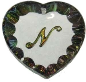 Diseño de letra heliotropo collar con colgante de corazón - N