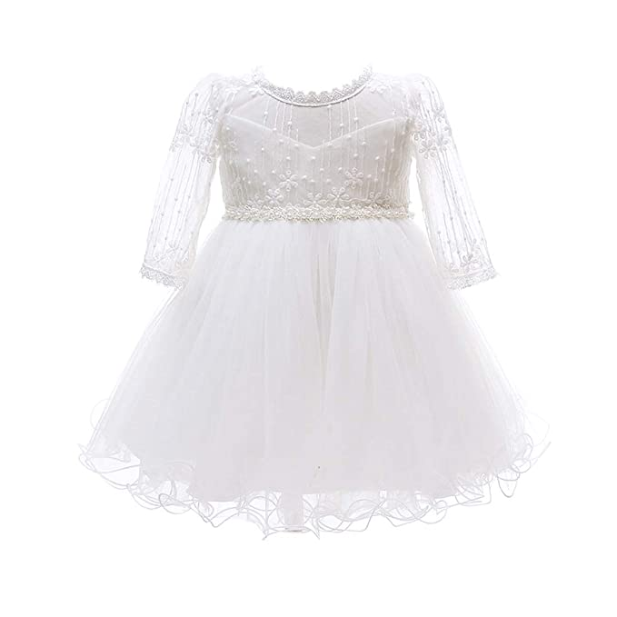 e7377f886 TAAMBAB Cute Infant Christening Outfits Casual Floral Lace Princess Dress - Baby  Girls Wedding Party Pageant Gowns Sweet Tutu Dress: Amazon.co.uk: Clothing