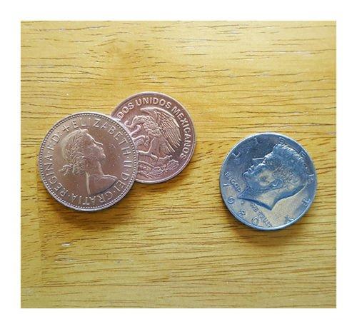 (Two Copper One Silver Coin Magic Trick - 5 Coin Set - Advanced Scotch & Soda by Sasco)