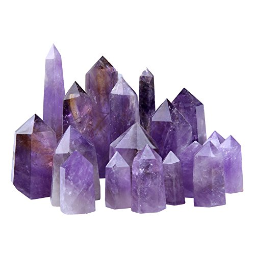 Natural Purple Crystal Point 6 Faceted Amethyst Wand, 1/2 pound for Healing, Reiki, Grids, Figurine Specimen (Amethyst Globe)