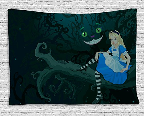 Ambesonne Alice in Wonderland Decor Tapestry, Alice Sitting on Branch with Chescire Cat in Darkness Striped Cartoon Love, Wall Hanging for Bedroom Living Room Dorm, 60 W X 40 L Inch, Multi Color ()