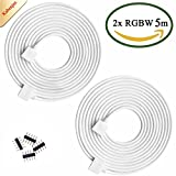 Kabenjee 2X RGBW Color Changing Flex LED Strip Light 5m Extension Cable Connector,5pin RGBWW LED Tape Solderless Adaptor Connector Cable for 5-strand 10mm/12mm Osram RGBW Strips(2pcs/Pack)