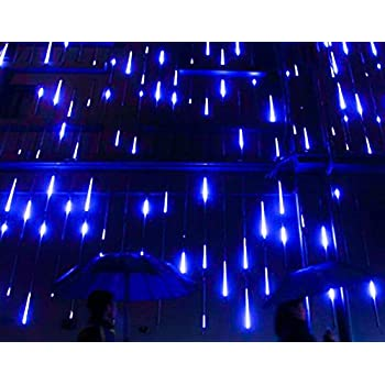 Alkbo Blue Color Meteor Shower Rain Lights Waterproof String for Wedding Party Christmas Xmas Decoration Tree Party Garden Xmas String Light Outdoor 8 Tube