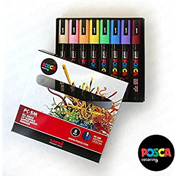 Amazon.com: POSCA Colouring - PC-5M Pastel Coloured Set of