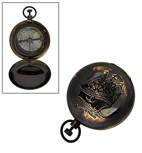 Store Indya Outdoor Camping Hiking Pocket Compass Geometry with Cover Antique Brass (4 X 5 X 3) Collectible Directional - Pocket Compass Watch