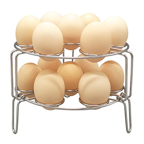 Stackable Steamer Rack for Instant Pot, Alamic 2 Pack Egg Cooker Stand Vegetable Steam Rack Trivet Basket for Pressure Cooker