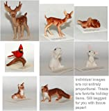 Hagen Renaker FOREST Set of 8 Deer, Fox, Bunny Rabbits, Cardinal in Gift Bag with Tissue Paper