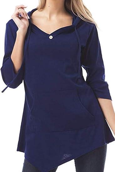 Yacun Mujeres Casual Manga Larga Camiseta Irregular Blusa con Capucha Tops: Amazon.es: Ropa y accesorios