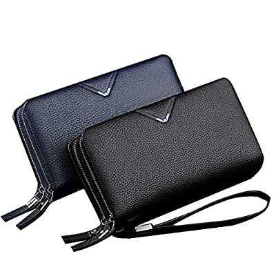 WilliamPOLO Mens Wallet Genuine Leather Strap Clutch Bag with Double Zipper