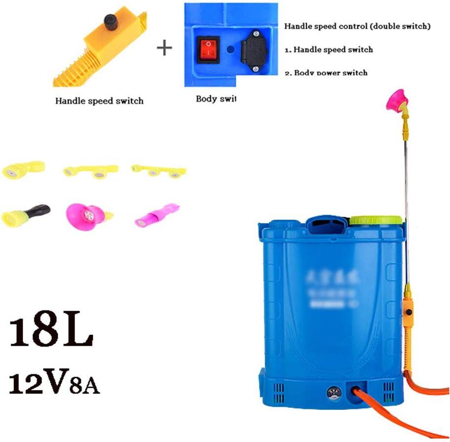 JTYDFG Pulverizador de Mochila, fumigador de jardín Pesticidas eléctricos 16L / 18L Pulverizador de presión eléctrico de 20L para jardinería Jardín de césped Granja (Azul)