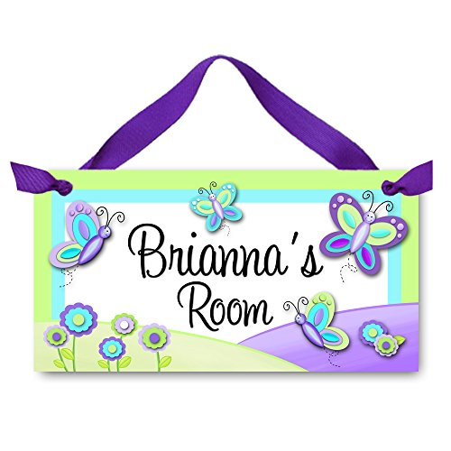 Pretty Purple and Green Butterfly Girls Bedroom Personalized Door Sign Wall Art Decor DS0037 (Doors Bedrooms For Wooden)