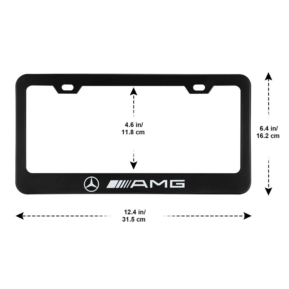 jiayuandz 2pcs AMG Logo License Plate Stainless Steel Frame with for Mercedes-Benz