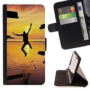 BullDog Case - FOR/Apple Iphone 5 / 5S / - / Design Jump Happiness Sunset /- Monedero de cuero de la PU Llevar cubierta de la caja con el ID Credit Card Slots Flip funda de cuer