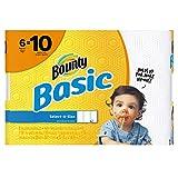 Bounty Basic Select-A-Size Paper Towels, White, 6 Mega Rolls = 10 Regular Rolls