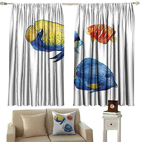 Polished Nickel Discus - Heat Insulation Curtain Fish Tropical Aquarium Life Discus Fish and Goldfish in Different Patterns Blackout Draperies for Bedroom Living Room W55 xL39 Azure Blue Yellow Scarlet