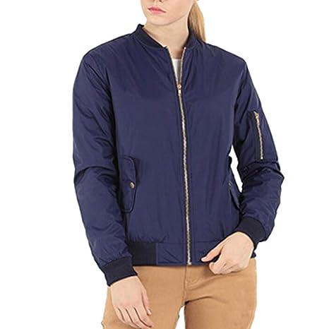 Qiusa Womens Winter Stand Collar Solid Full Zipper Outwear Abrigo Chaqueta Bomber (Color : Azul