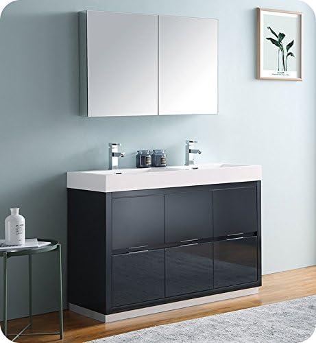 Fresca Valencia 48″ Dark Slate Gray Free Standing Double Sink Modern Bathroom Vanity w/Medicine Cabinet