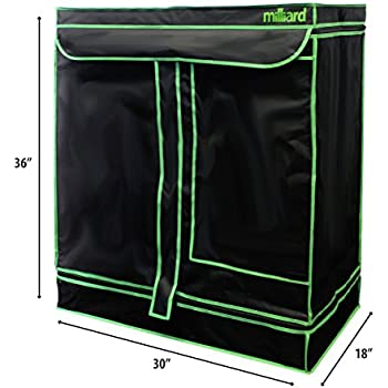 "MILLIARD Horticulture D-Door 30"" x 18"" x 36"" 100% Reflective Mylar Hydroponic Grow Tent with Window, Great for Indoor Planting and Early Seedling Starters"
