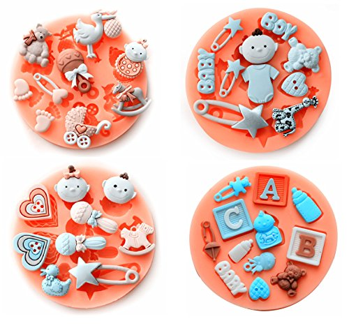 Baby Shower Theme Mini Cake Fondant Mold,Cake Decorating Mold,Gummy Sugar Chocolate Candy Cupcake Mold,Set of 4