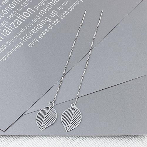 b7c598c9e5ad De bajo costo YAZILIND S925 plata esterlina hojas simples borlas gota  Dnagle aretes hipoalergénicos línea de