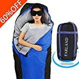 sleeping bag - FARLAND Lightweight Sleeping Bag& Portable Waterproof Mummy Bag With Compression Sack -Perfect for Summer Traveling, Camping, Hiking,Outdoor Activities(Dark Blue & Black / Right Zip)