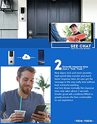 DIGOO SB-XYA Video Doorbell, New Upgrade Wireless&Full HD 1080P Bluetooth WIFI Ring Video Doorbell, Pro Smart Home PIR Sensor Rechargeable Doorbell Camera&Phone Ring