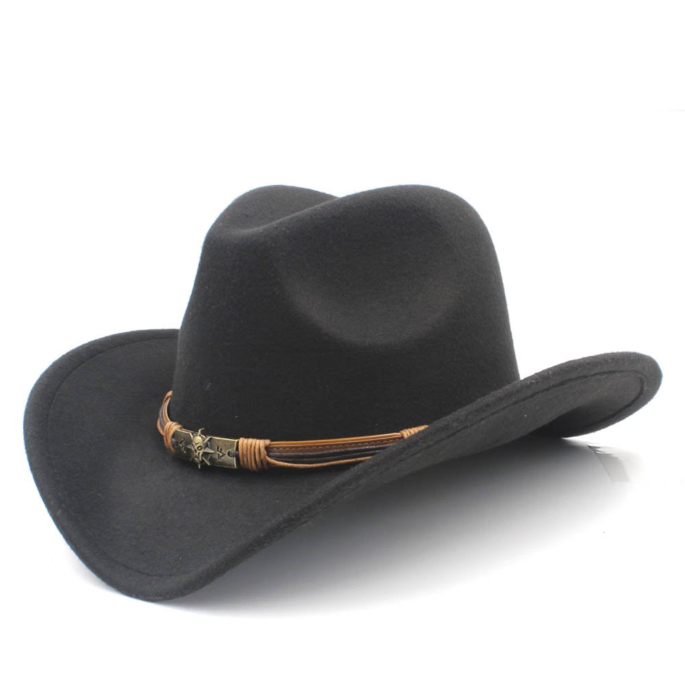 Ruanyi Western Cowboy Hat, Fashion Style Hat With Punk Blet Lady Felt Cowgirl Sombrero Caps For Women (Color : Black, Size : 56-58CM)