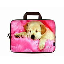 "iColor Cute Dog 9.7"" 10"" 10.1"" 10.2"" Tablet Laptop Neoprene Carrying Bag Sleeve Briefcase Pouch Handle Bag Tote for iPad Air, Kindle Fire HD 10, Lenovo Yoga book, 10.1 Toshiba Encore 2, PolaTab Q10.1, Dell Inspiron Mini 10 IHB10-06"