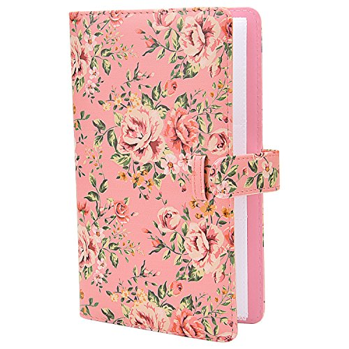 Sunmns Wallet PU Leather Photo Album for Fujifilm Instax Mini 9 8 90 8+ 26 7s Instant Camera Film, Polaroid Snap Zip Z2300 PIC-300 Film (Pink Floral)