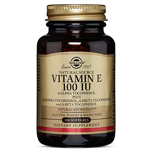 Solgar Vitamin E 100 IU Mixed D Alpha Tocopherol and Mixed Tocopherols Softgels, 100 Count