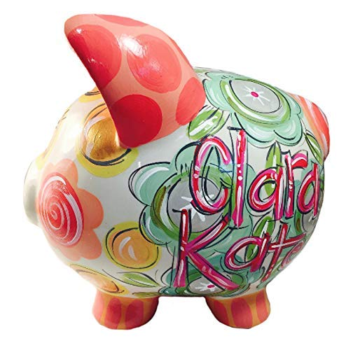 Personalized Ceramic Piggy Bank, Sage, Green, Gray, Coral & Gold