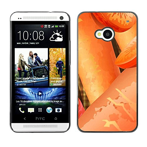 Soft Silicone Rubber Case Hard Cover Protective Accessory Compatible with HTC ONE M7 2013 - Plant Nature Forrest Flower 24