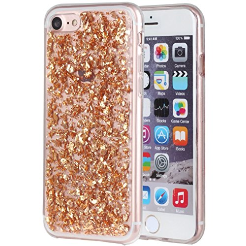 iPhone 7 Clear Glitter Case Sparkle Bling Case Luxurious [Ultra-thin] for Girls Women[Shock-Absorption]Anti-fall for iPhone 8 Cover - Rose Gold