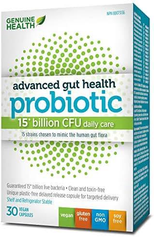 Genuine Health Advanced Gut Health Probiotic, 15 Billion CFU, 15 Strains, Supports Gut + Digestive Health, Vegan Delayed-Release Capsules, 30 Count
