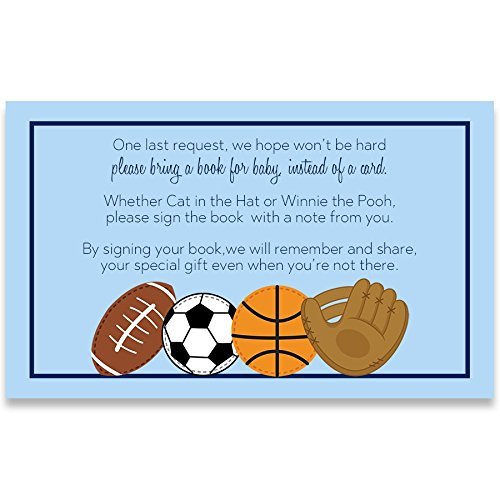 Baby Shower, Bring A Book Cards, Baby Shower Invitation Book Inserts, Blue, Boys, All Star, Sports, Football, Soccer, Basketball, All Star Book Inserts, Bring A Book, Set of 24 Printed Inserts