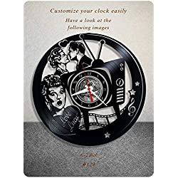 King Live I Love Lucy Wall Clock Made of Vinyl Record_Greatest Sitcom Lucille Ball The Lucy Show Here's Lucy Life with Lucy Wall Art Decor Gift