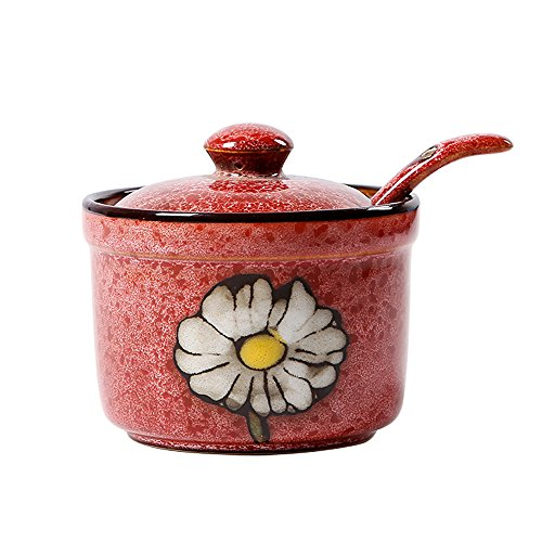 Ceramics Retro Flower Sugar Bowl with Lid and Spoon 5.5 Ounces Red